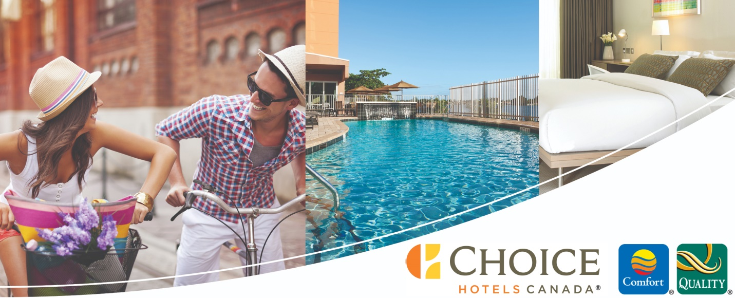 Vacation scenes with the Choice Hotels Canada logo