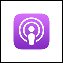 Apple Pocasts logo with link to podcast