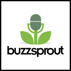 Buzzsprout logo with link to podcast