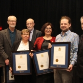 The University of Windsor received the Lieutenant Governor's Ontario Heritage Award for Excellence in Conservation, Feb. 22 at Queen's Park. From left: Robert Balicsak, principal at Colliers Project Leaders; Lieutenant Governor Elizabeth Dowdeswell; architect Craig Goodman; Harvey McCue, chair of the Ontario Heritage Trust; and John Coleman, UWindsor director of public affairs and communications. Photo by Ian Crysler.