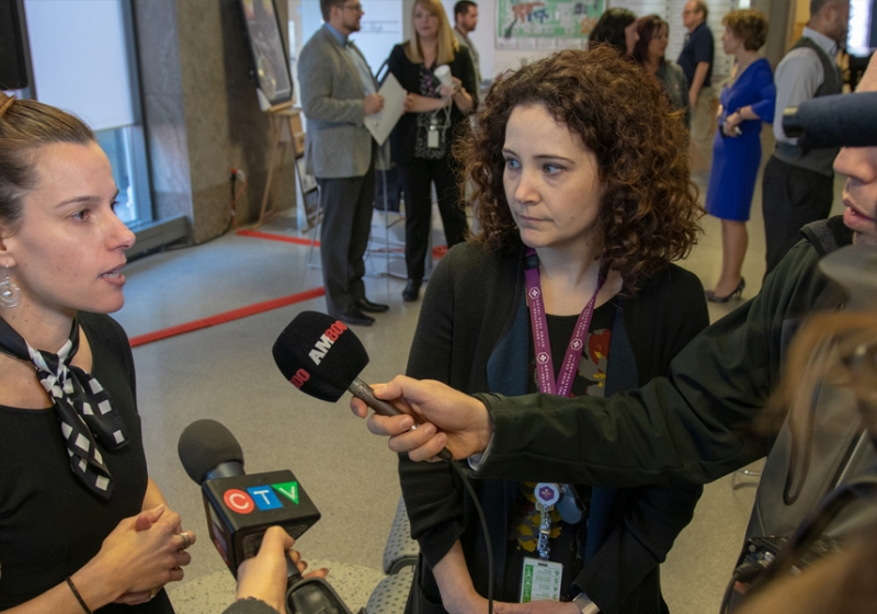 UWindsor kinesiology professor Cheri McGowan and HDGH research associate Jennifer Voth speak with media Monday following an announcement of grant support for their project investigating models of care in cardiac rehab.UWindsor kinesiology professor Cheri McGowan and HDGH research associate Jennifer Voth speak with media Monday following an announcement of grant support for their project investigating models of care in cardiac rehab.
