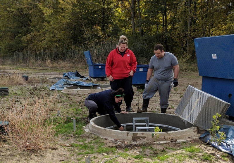 Watershed research technicians Mackenzie Porter and Samantha Dundas of the Essex Region Conservation Authority and biochemistry student Dave Ure clear a biofilter at the Lebo Creek Wetland.