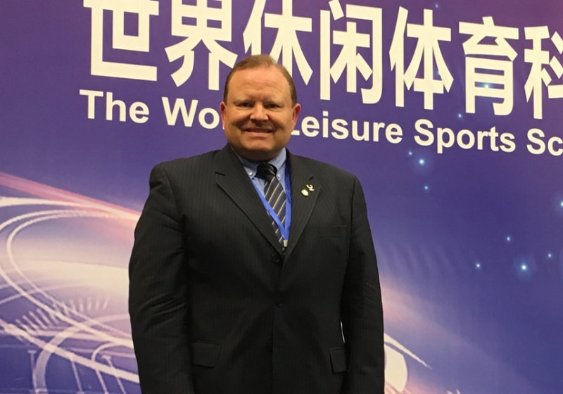 Kinesiology professor Scott Martyn delivered the keynote address at the World Sports Leisure Science and Industry Summit in Xiamen, China.