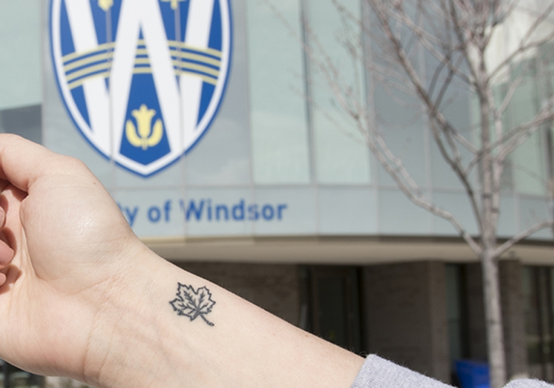 Maple leaf tattoos are a memento to the UWindsor experience.