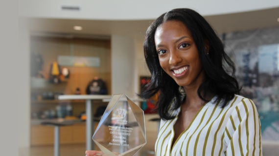 An award from the Office of Human Rights, Equity and Accessibility recognized nursing student Chantal Kayumba for her advocacy on behalf of patients.