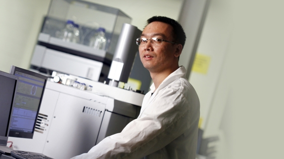 Tao Peng, pictured here in a mass spectrometry lab in the Centre for Engineering Innovation, completed his doctoral studies under the joint supervision of professors at the University of Windsor and Sorbonne University.