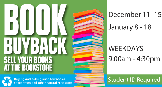 Sell your books for cash. Book buyback December and January.
