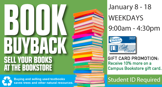 Sell your books for cash! Book buyback January 8-18, 2018