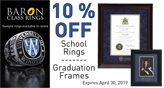 School Ring and graduation frame sale - 10 percent off until April 30, 2019