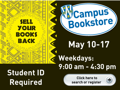 Textbook Buyback weekdays 9 am to 4:30 pm May 10-11, 2017