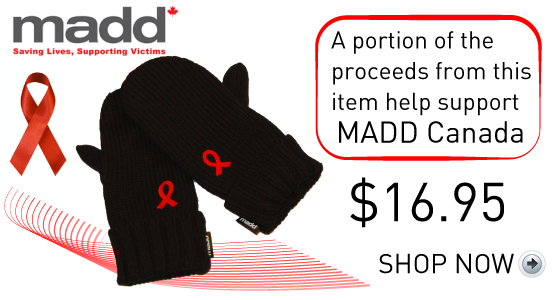 Mitts - Portions of the proceeds from this item help support MADD Canada