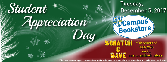 Scratch and Save up to 25 percent on Student Appreciation Day - December 5, 2017