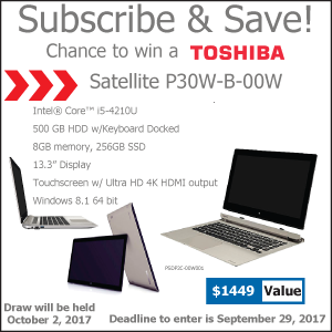 Subscribe and save - Chance to win a Toshiba laptop