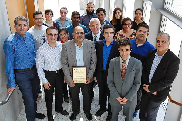Mohammed Khalid, pictured centre with members of the IEEE Windsor Section