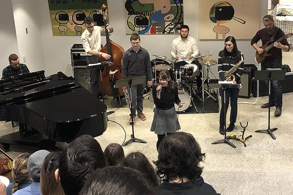 Vocalist Madeline Doornaert fronts a jazz combo of Sam Poole on piano, Noah Renault on bass, Matt Lepain on trumpet, Nick Baddeley on drums, Caterina Augimeri on saxophone, and Logan Fletcher on guitar.