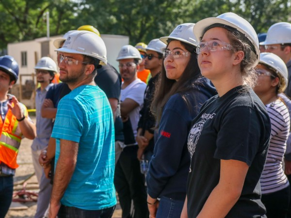 Fourth-year civil engineering students tour the construction site of the new Windsor Public Library Sandwich branch on Friday, Aug. 3, 2018.