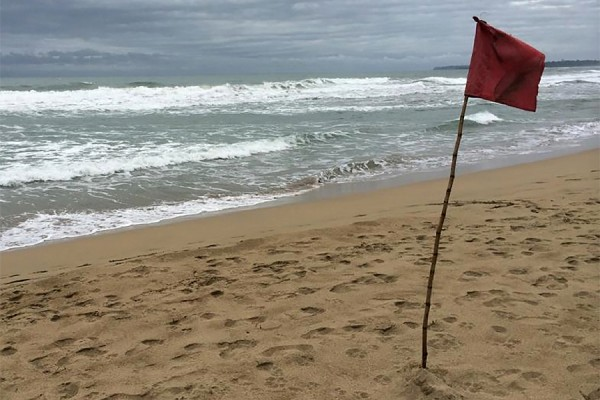 beach with red warning flag