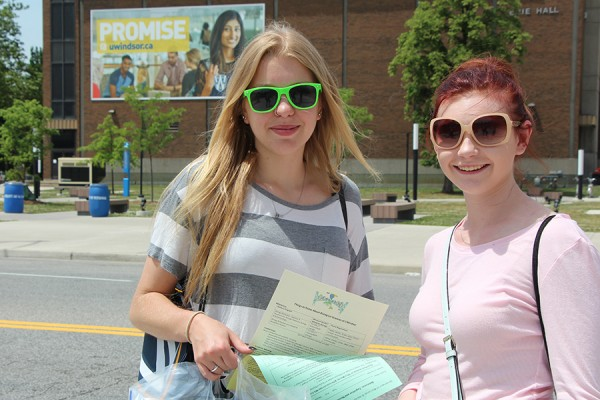 Payton Bacon and Brigitte Reinhart, graduating this month from West Elgin Secondary School, came to campus Friday for the first session of Head Start.