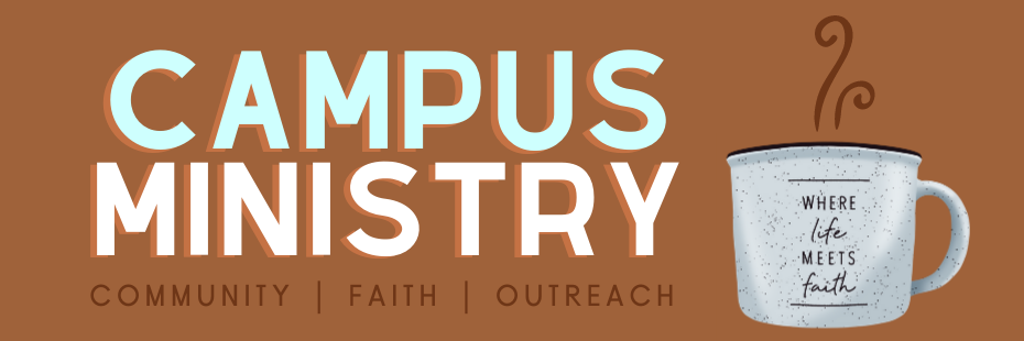 Campus Ministry Banner with mug illustration