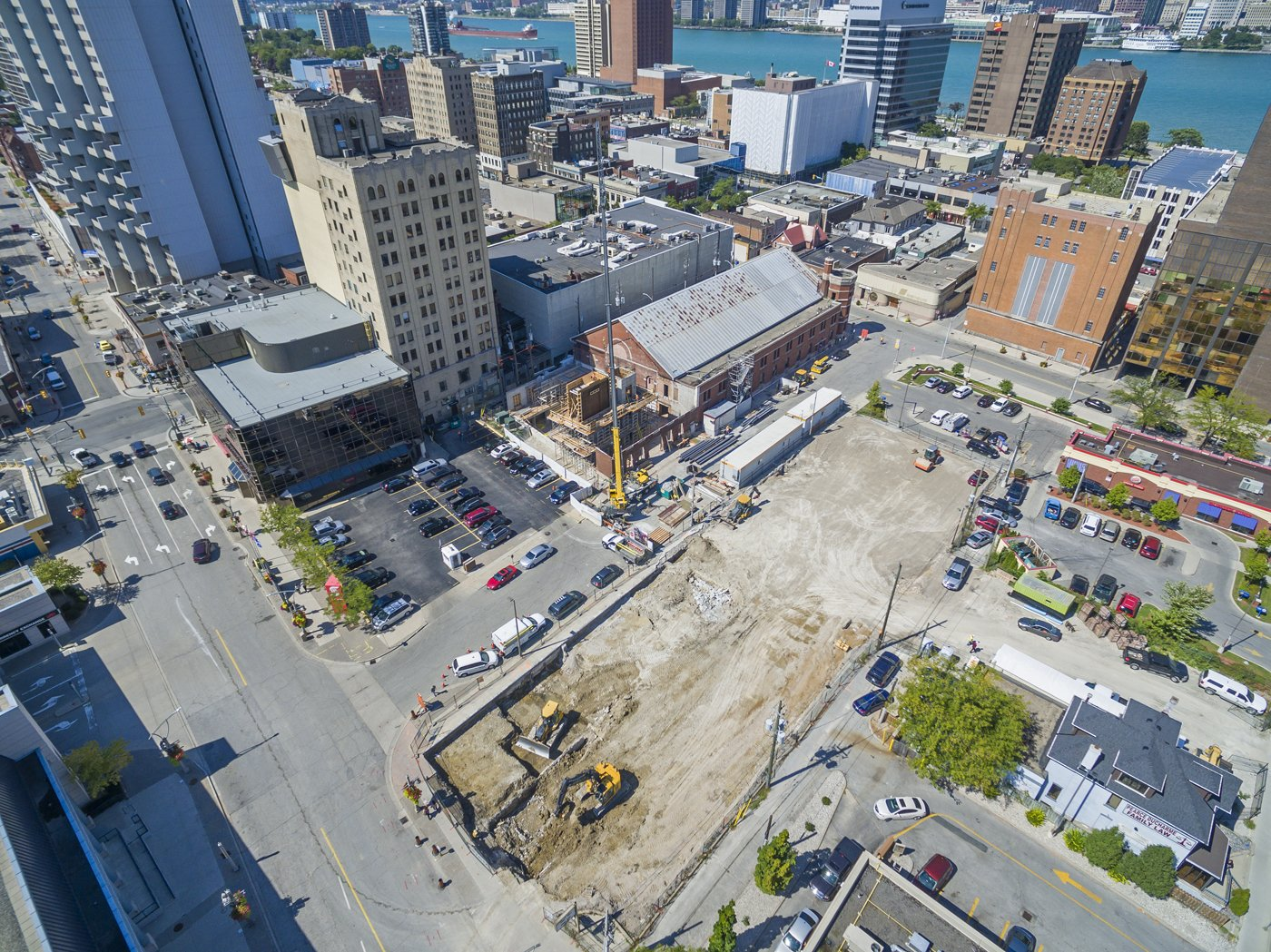 Aerial view of downtown campus construction