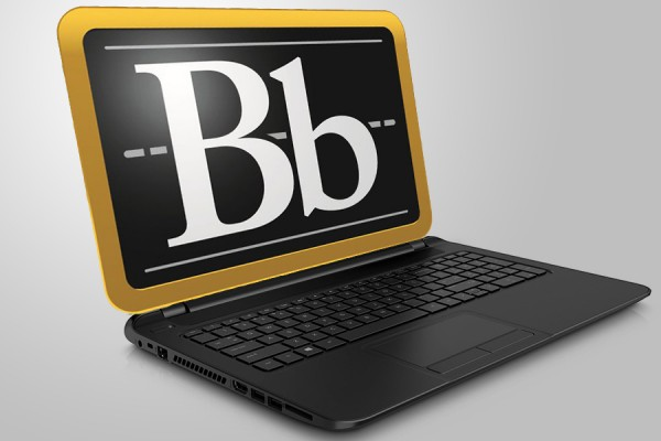 A laptop with Bb on the screen to show that it's for Blackboard.