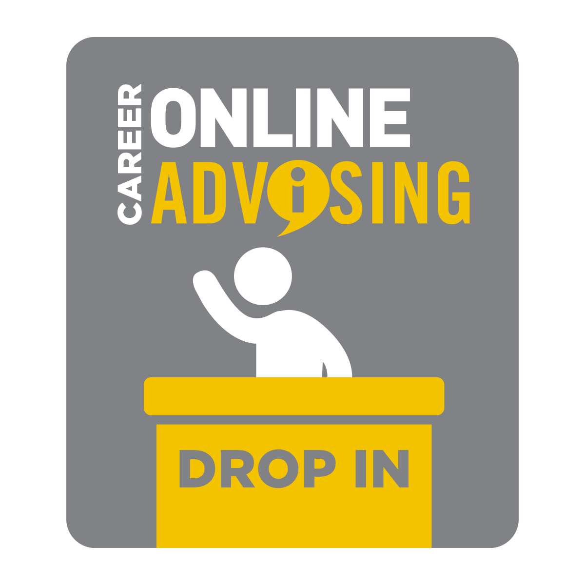 Icon with text: Career Online Advising Drop In. Stick figure sitting at desk.