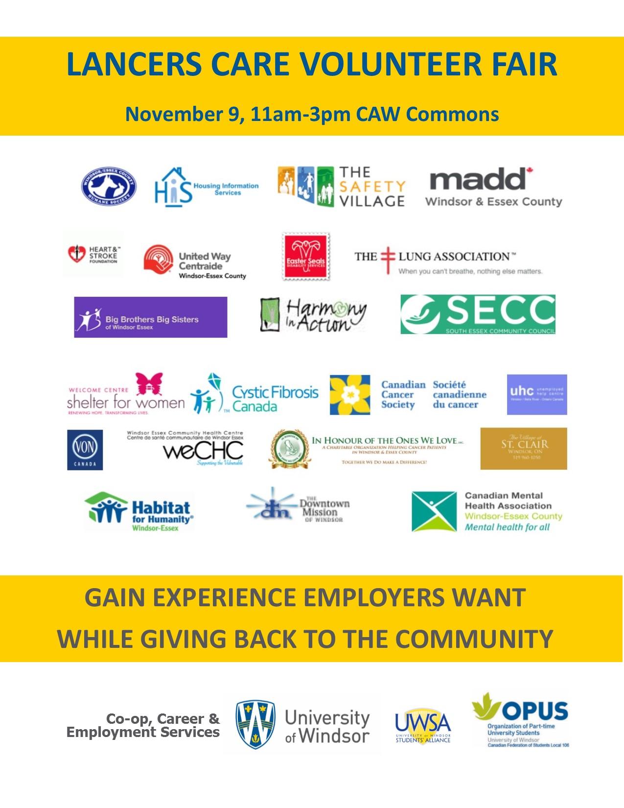 lancers care volunteer fair co op career and employment services lancers care volunteer fair