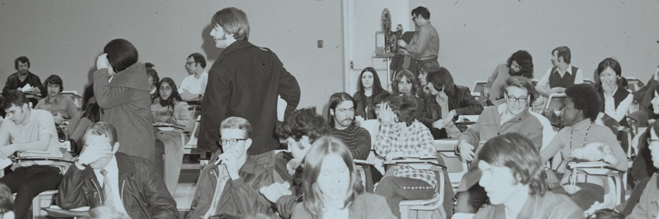Old photo of students in classroom