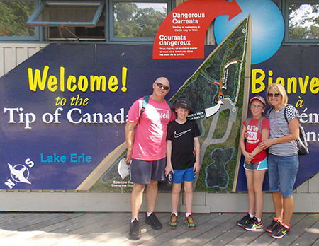 The Paterson family visiting Point Pelee National Park.