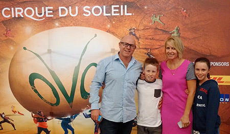 The Paterson family at the Cirque du Soleil performance in Windsor