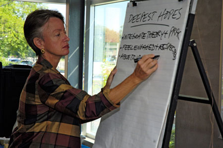 Virginia Lee writing responses from workshop attendees onto board