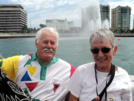 Patsy Paxton and husband Alan enjoy a boat ride on the Detroit River. Windsor's Peace Fountain is in the background.
