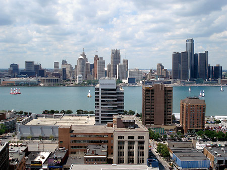 The Windsor and Detroit skyline as seen from the roof top patio of a Windsor condominium.