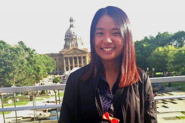 Michelle Quan at the Alberta legislature in Edmonton.