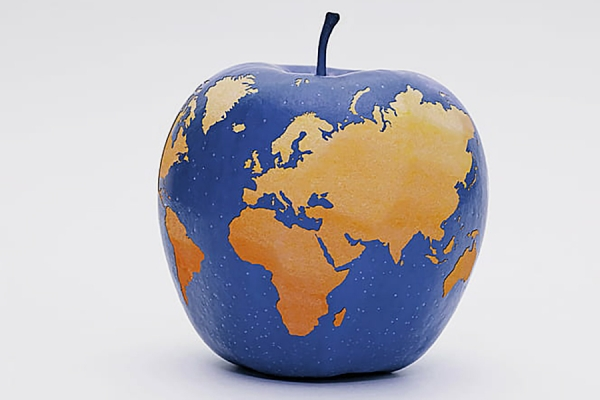 Globe in apple shape, representing education