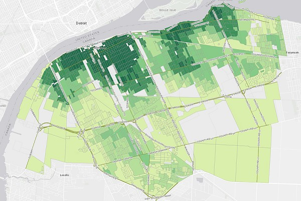 map of Windsor highlighting areas in varying shades of green