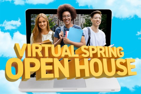 virtual open house image of students popping out from laptop computer