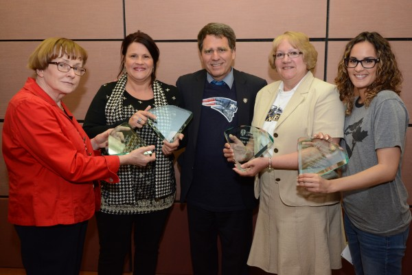 GEM Award 2015 winners, Barbara Niewitecka, Michelle Nohra, Clayton Smith, Judi Wilson Danielle Handsor and Brooke White (Not shown in photo)
