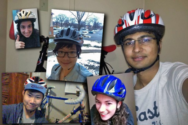 self-portraits of students wearing bike helmets