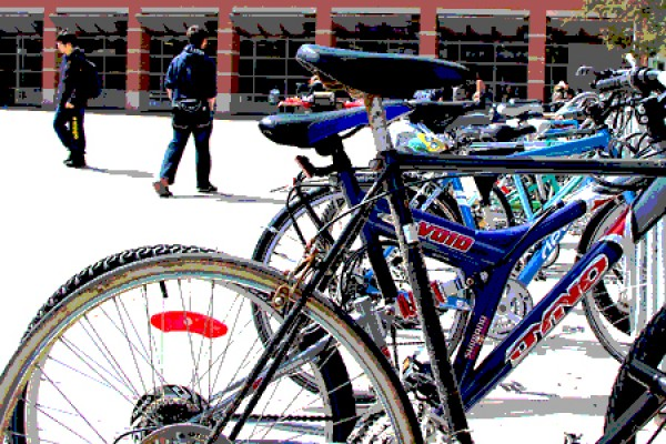 bike rack outside CAW Student Centre