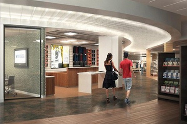 Artist's rendering depicts the entrance of the Campus Bookstore