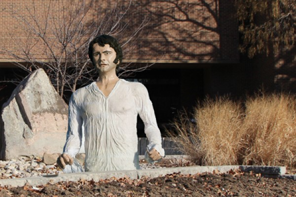 papier mâché sculpture of Colin Firth as Mr. Darcy