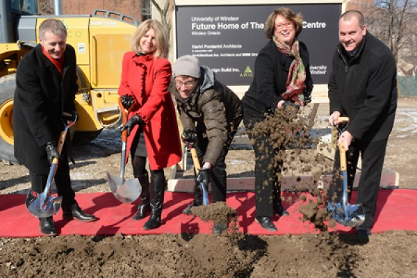 Dignitaries break ground on the University's Welcome Centre.