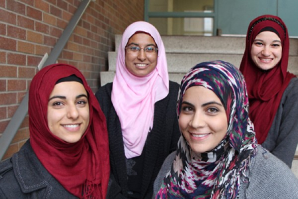 students wearing hijabs