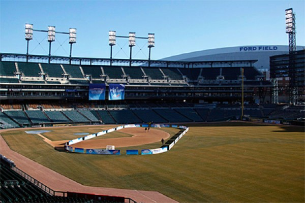 Comerica Park with hockey boards