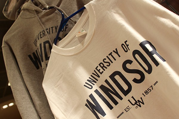 "sweatshirt and T-short, both printed with text ""University of Windsor"""