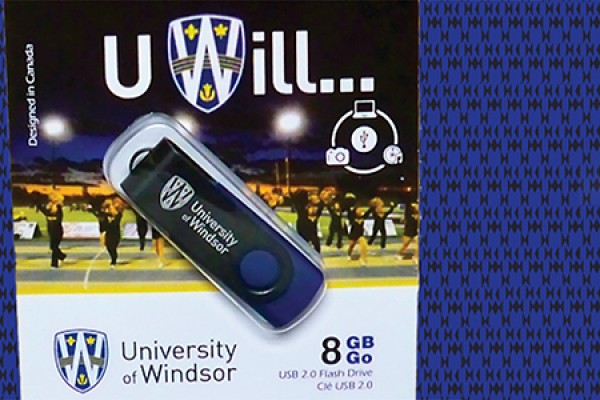 package of UWindsor-themed memory stick