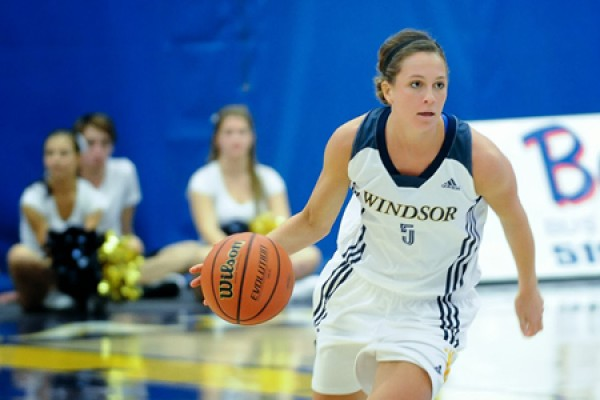 Guard Kristine Lalonde of the Lancer women's basketball team.