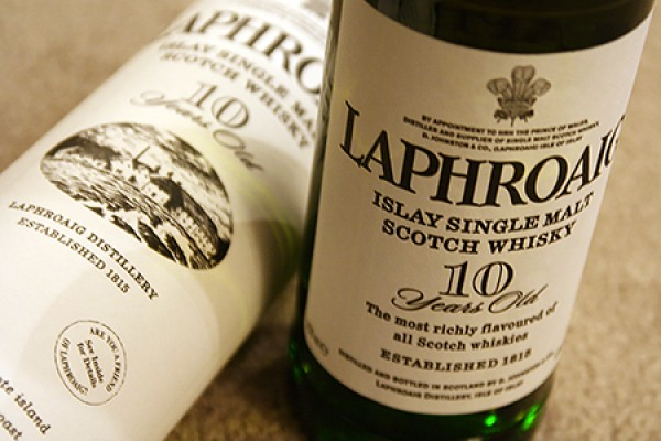 Laphroaig whisky bottles