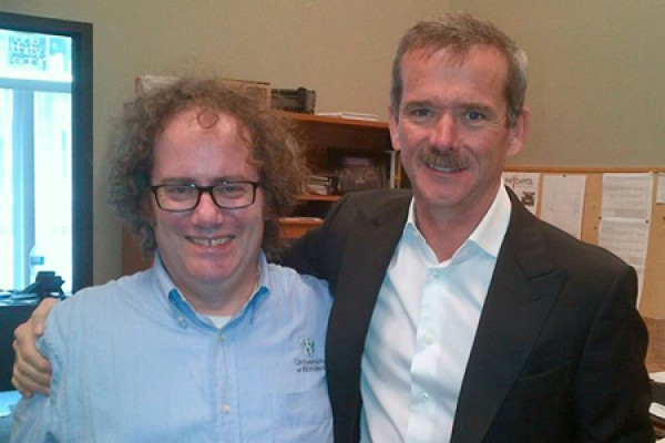 Martin Deck congratulates Chris Hadfield